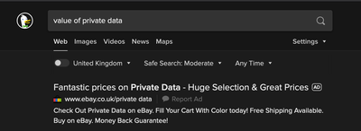 Great prices for private data - Ebay.