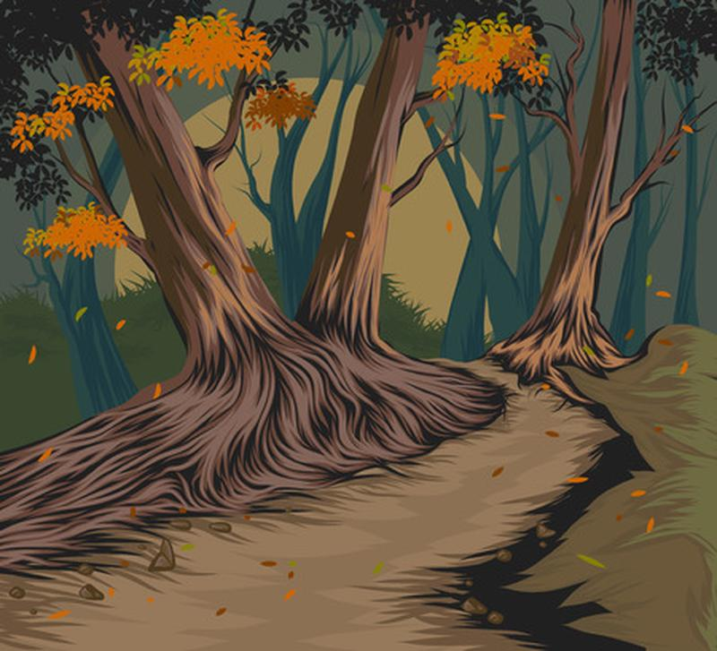 A painting of a path